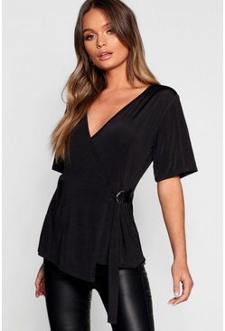 Womens Black Slinky D Ring Wrap Top