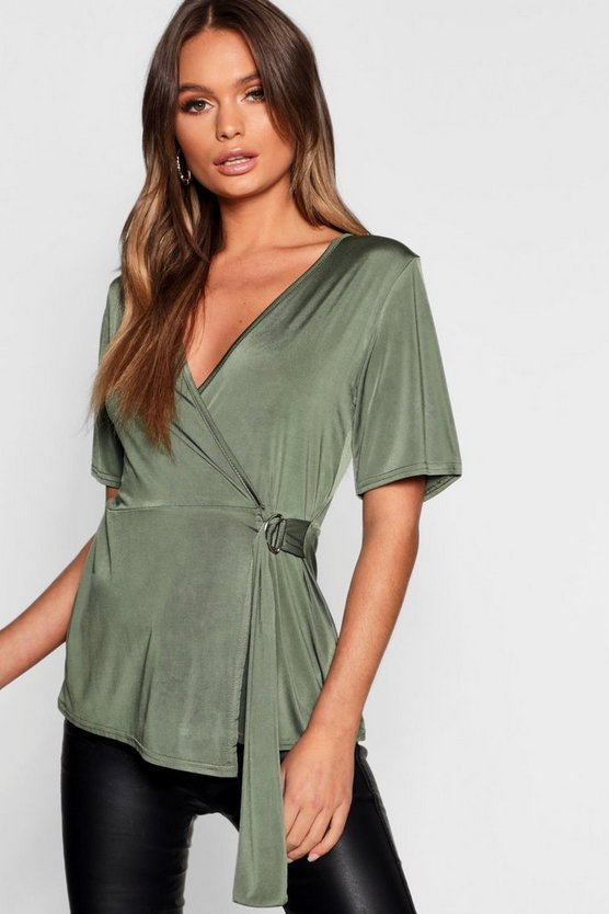 Womens Khaki Slinky D Ring Wrap Top
