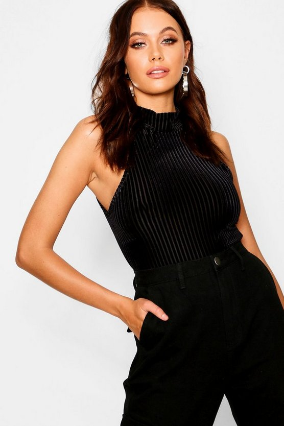 Burnout Stripe Velvet Turtle Neck Crop Top