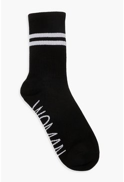 Womens Black Woman Sports Stripe Ankle Socks