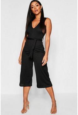 Black Jumbo Ribbed Self Belt Culotte Jumpsuit