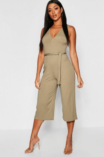 Womens Khaki Jumbo Ribbed Self Belt Culotte Jumpsuit