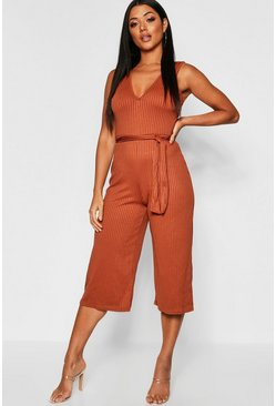 Womens Tan Jumbo Rib Self Belt Culotte Jumpsuit