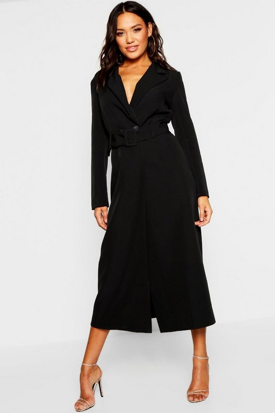 Woven Double Breasted Maxi Blazer Dress