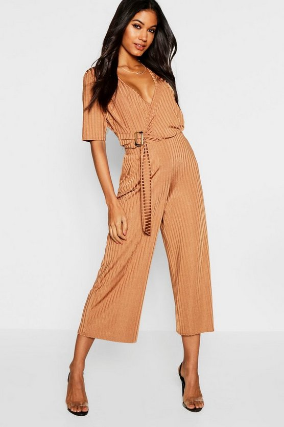 Camel Buckle Detail Slinky Rib Wrap Top + Culotte Co-Ord