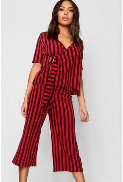 Womens Red Stripe Buckle Detail Wrap Top + Culotte Co-Ord