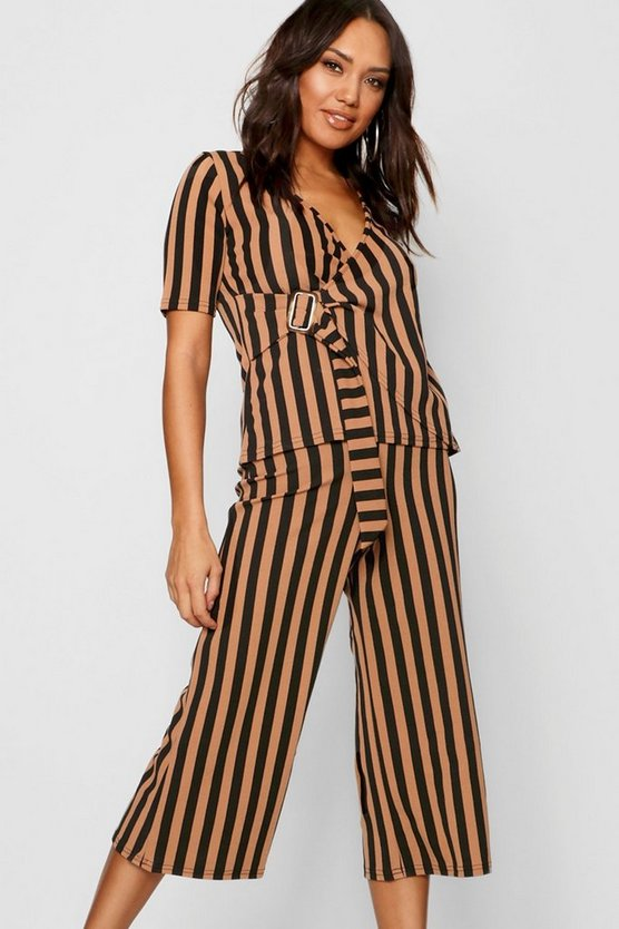 Stripe Buckle Detail Wrap Top + Culotte Co-Ord