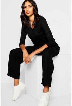 Womens Black Rib Wide Leg Trouser Co-Ord