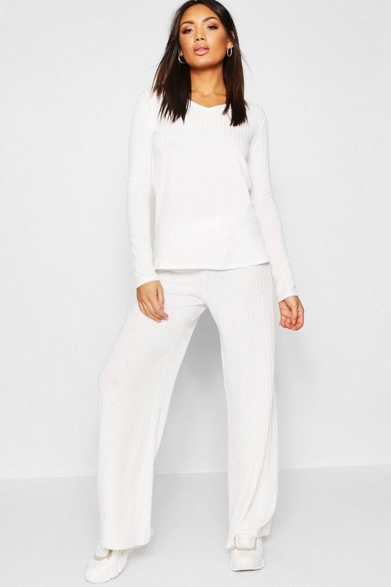 Ivory Rib Wide Leg Trouser Co-Ord