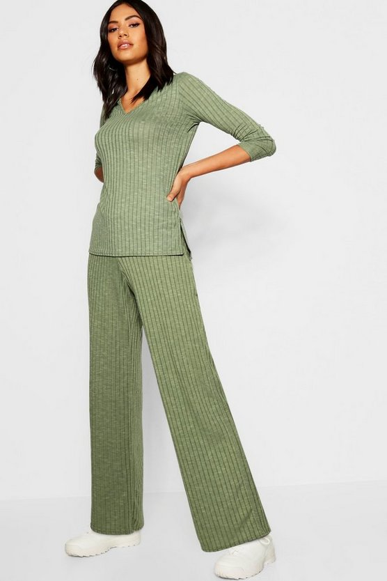 Rib Wide Leg Trouser Co-Ord