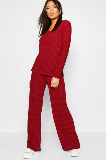 Womens Wine Rib Wide Leg Trouser Co-Ord
