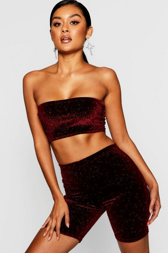 Glitter Velvet Cycle Short + Bandeau Co-Ord