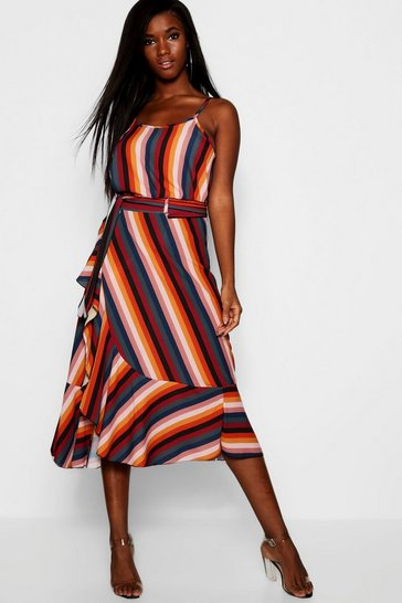 Womens Red Rainbow Stripe Cami + Wrap Skirt