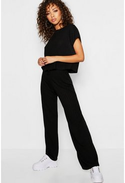 Womens Black Rib Oversized T-Shirt + Wide Leg Co-Ord