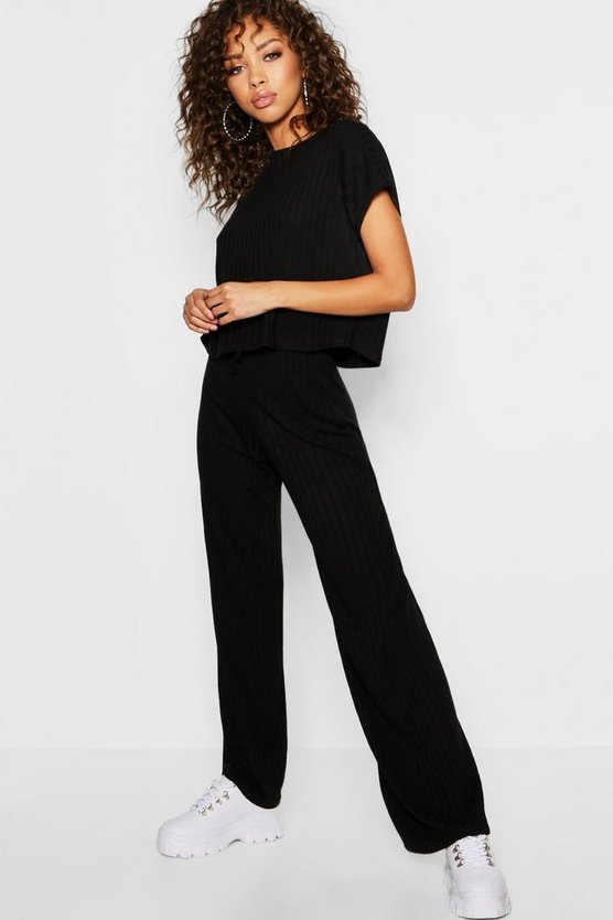 Rib Oversized T-Shirt + Wide Leg Co-Ord