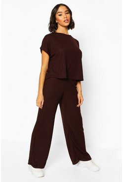 Chocolate Rib Oversized T-Shirt + Wide Leg Two-Piece Set