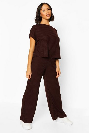 Chocolate Rib Oversized T-Shirt + Wide Leg Co-Ord Set