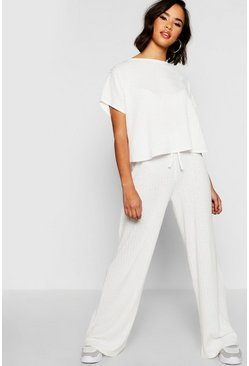Womens Ecru Rib Oversized T-Shirt + Wide Leg Co-Ord
