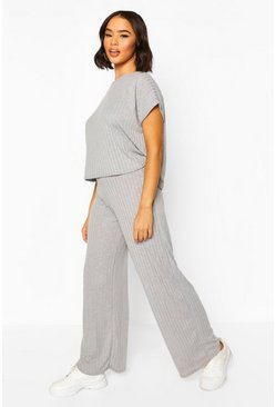 Grey marl Rib Oversized T-Shirt + Wide Leg Co-Ord Set