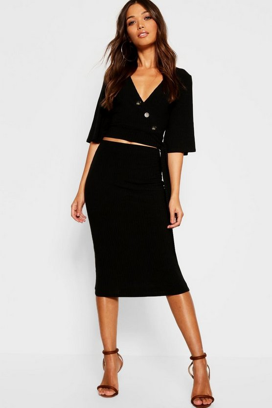 Womens Rib Button Detail Wrap Top + Midi Skirt Co-Ord