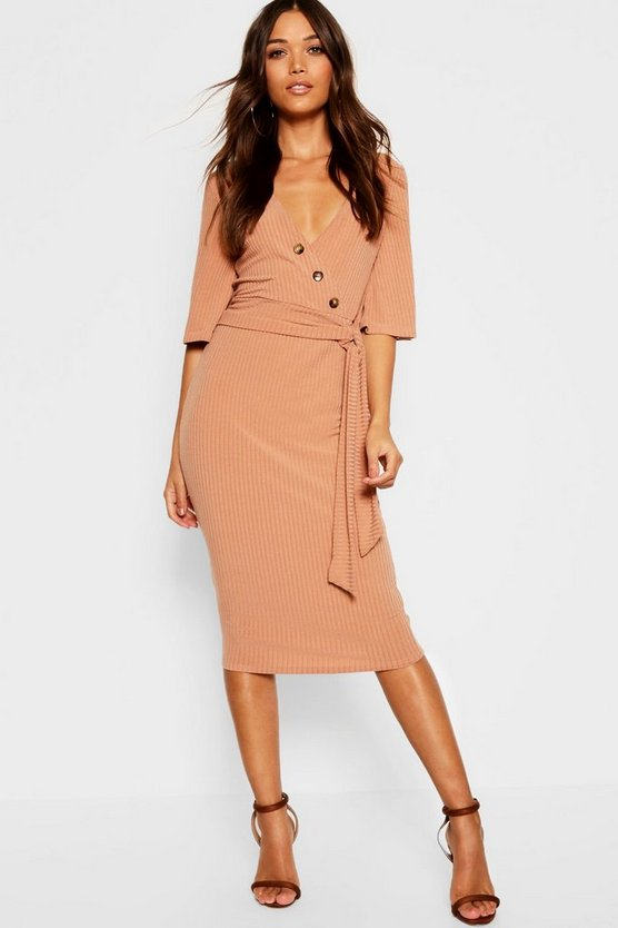 Rib Button Detail Wrap Top + Midi Skirt Co-Ord