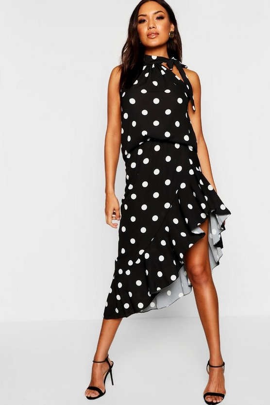 Black Polka Dot Ruffle Midi Skirt + High Neck Top Co-Ord
