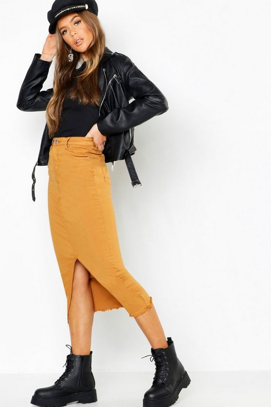 Split Front Stretch Denim Midi Skirt