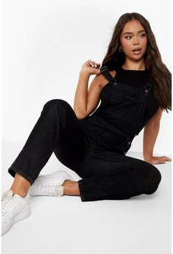 Womens Black Boyfriend Dungaree