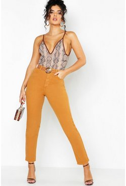 Womens Mustard High Rise Mom Jeans