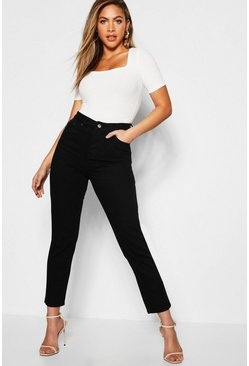 Womens Black High Rise Boyfriend Jeans