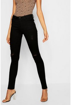 Womens Black High Waisted Distressed Skinny Jeans