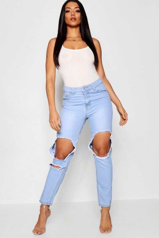 High Rise All Over Distressed Boyfriend Jeans