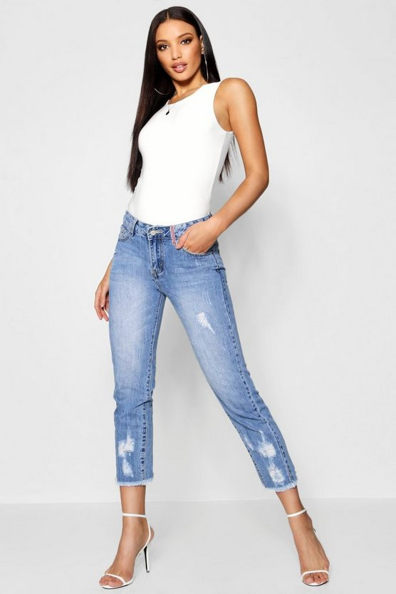 Low Rise All Over Distressed Boyfriend Jeans