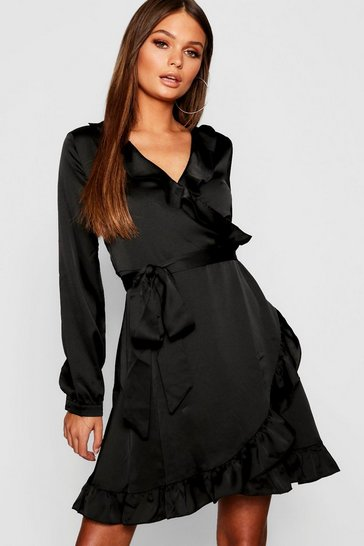 Womens Black Satin Wrap Front Tea Dress