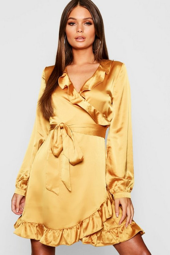 Satin Wrap Front Tea Dress
