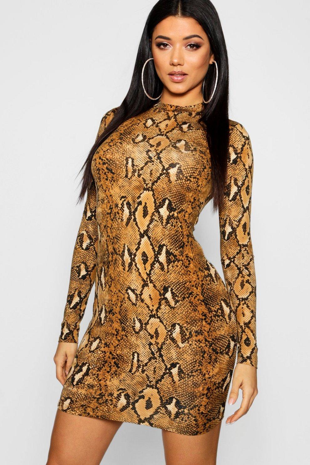91530e4699 Long Sleeve Snake Print Bodycon Dress