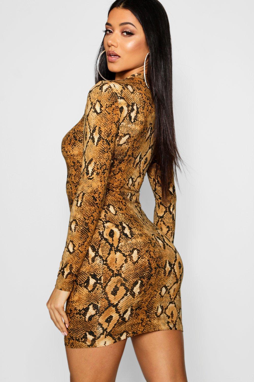 Long Dress Snake Print Sleeve Bodycon rX7Fqrv