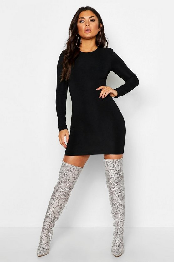 Womens Black Long Sleeve Power Shoulder Bodycon Dress