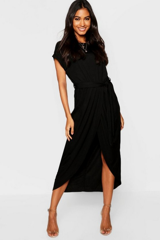 Tie Waist Wrap Front Midaxi Dress