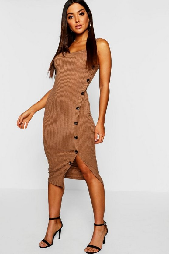 Button Front Ribbed Midi Dress