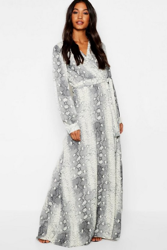 Snake Print Belted Woven Maxi Dress