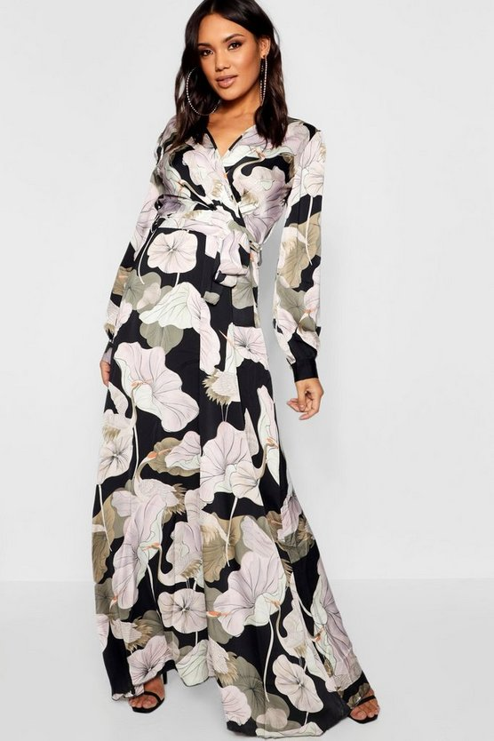 Womens Black Floral Wrap Front Maxi Dress