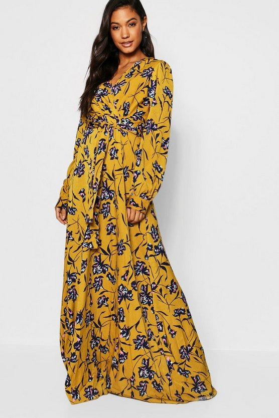 Womens Yellow Floral Wrap Front Maxi Dress