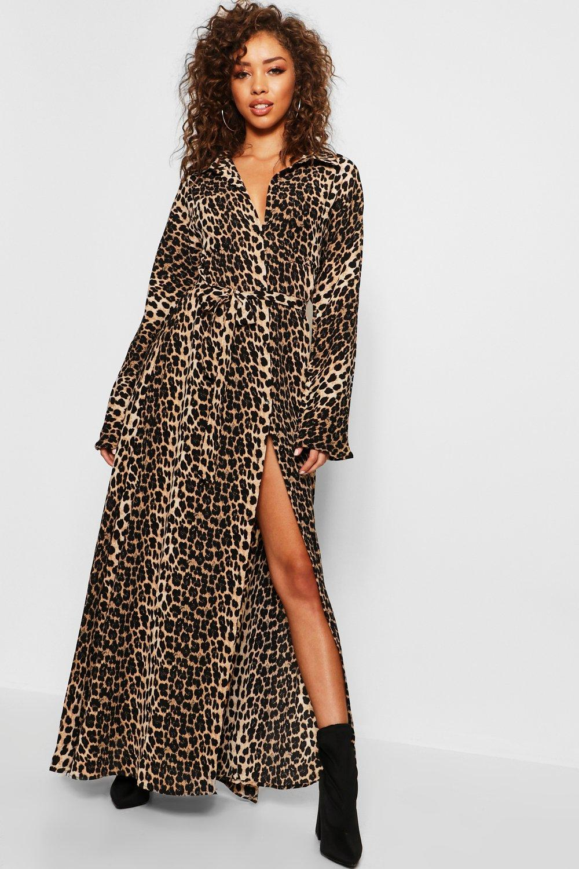 Belted Leopard Print Maxi Dress