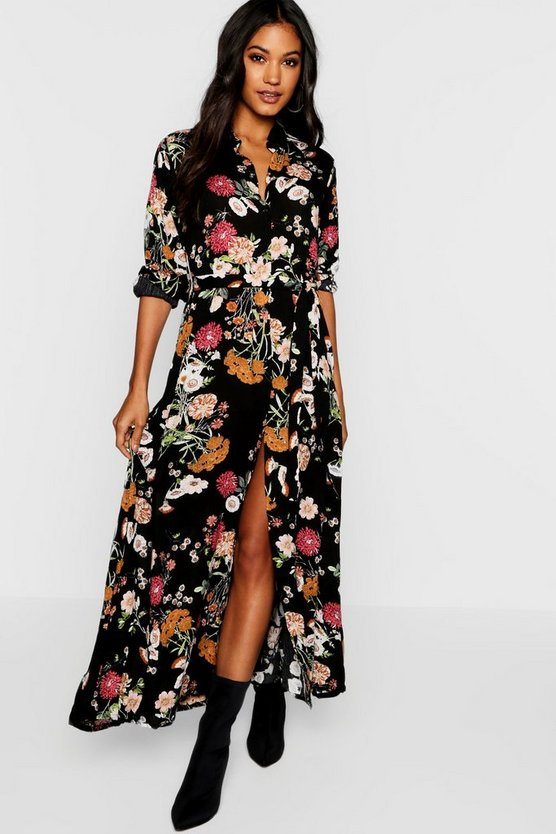 Dark Floral Woven Maxi Shirt Dress