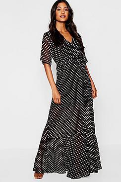 Polka Dot Ruffle Hem Flutter Sleeve Skater Dress
