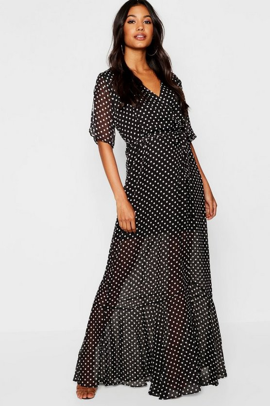 Polka Dot Ruffle Hem Flutter Sleeve Skater Dress