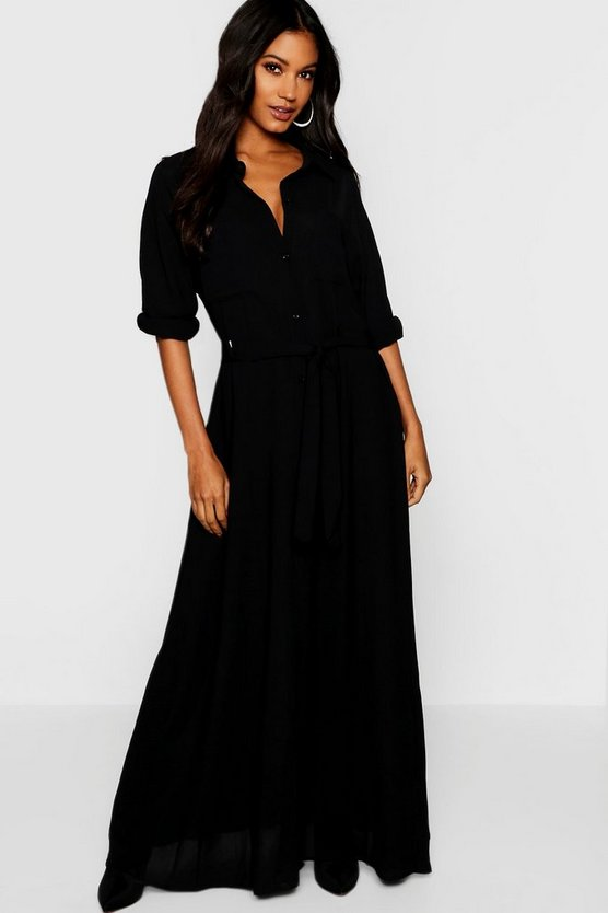 Woven Belted Maxi Shirt Dress