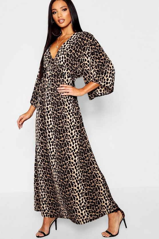 Womens Leopard Flute Sleeve Leopard Maxi Dress