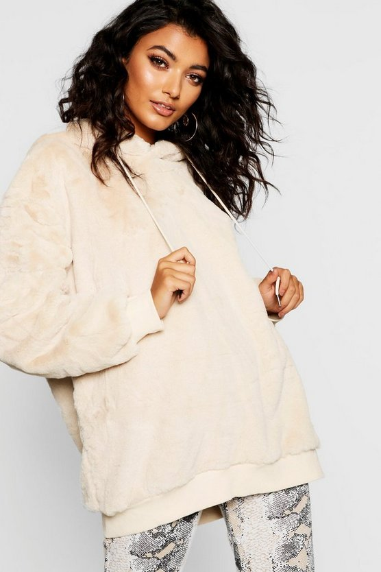 Womens Beige Supersoft Faux Fur Hoody